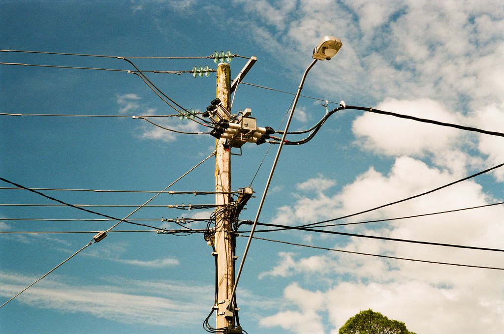 wooden power lines